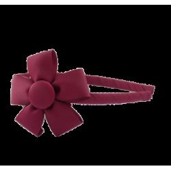 Diadema fina con flor burdeos