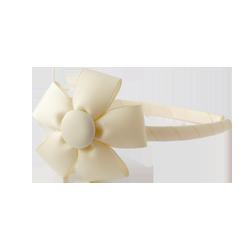 Diadema fina con flor biege