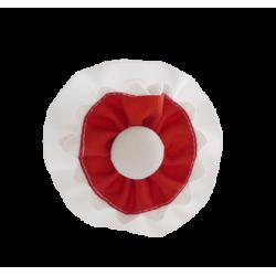 Coletero rosetones blanco-rojo