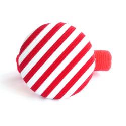 Botón forrado listas rojo