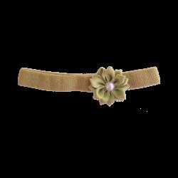 Flor con perla pistacho