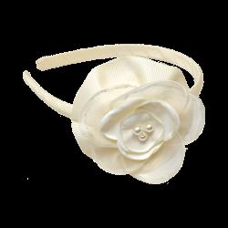 Diadema fina Flor Pétalo Beige